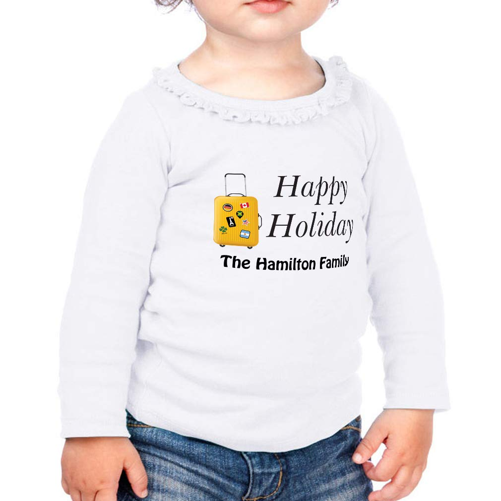 Personalized Holiday Luggage Cotton Toddler Long Sleeve Ruffle Shirt Top