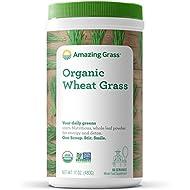 Amazing Grass Organic Wheat Grass Powder, 60 Servings, 17oz, Greens, Detox, Alkalize, whole leaf, Gluten Free, GMO Free, Kosher, wheatgrass, vegan