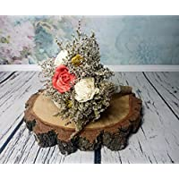 Small Rustic Wedding Bridesmaids Bouquets Made of Ivory and Burnt Orange Sola Flowers Yellow Cedar Roses Dried Limonium Burlap Lace and Pearl Pins