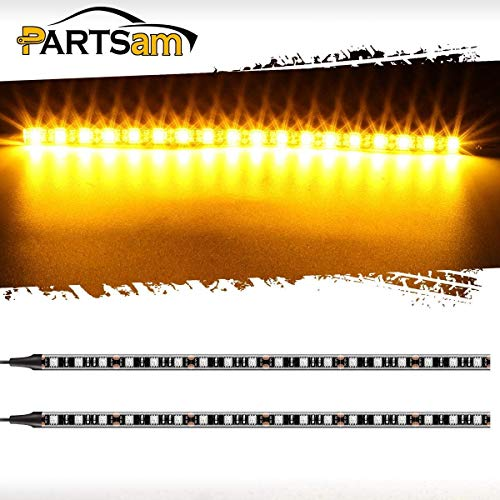 Light Van Turn Signal - Partsam 2pcs 18LED Turn Signal LED Strips Light Bar Motorcycle LED Blinker Backup License Plate Amber Strip Light Replacement for Harley Davidson Honda Kawasaki