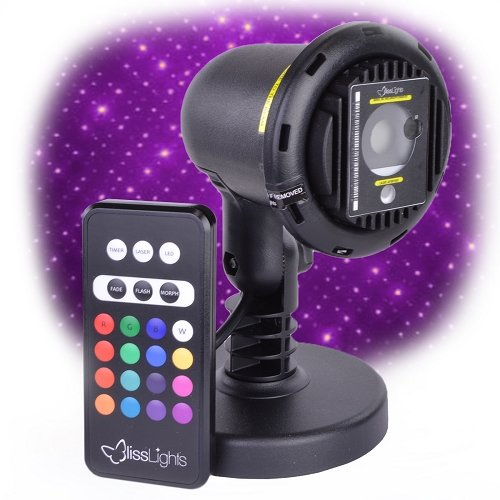 Purple Laser Light Projector by BlissLights Commercial Grade Indoor or Outdoor Laser Star Spotlight Includes Wireless Remote, 16 LED Accent Colors, Timer, Stake, and Thousands of FireFly Pinpoints