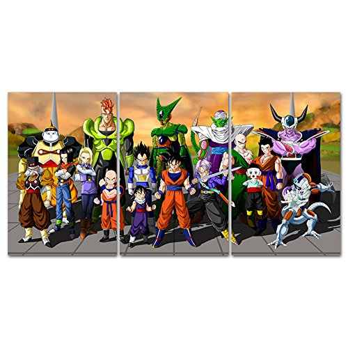 MingTing - 3 Panel Modern Giclee Canvas Wall Art Dragon Ball
