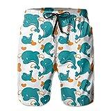 Mens Miami Dolphin Cartoon Cute Pattern Summer Quick-Drying Swim Trunks Beach Shorts Cargo Shorts