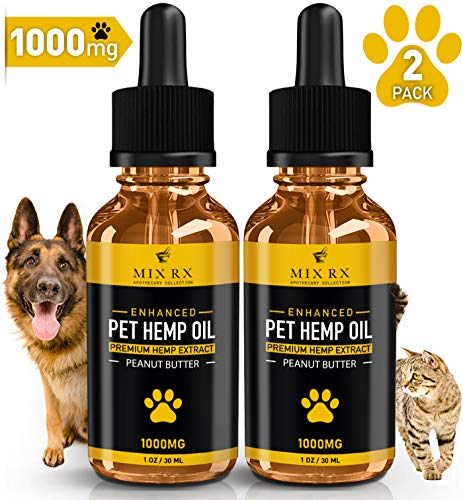 (2 Pack) Hemp Oil for Dogs Cats Pets, Organic Calming Dog Treats for Separation Anxiety Pain Relief(1000mg-30mL) Natural Hemp Extract Stress Sleep Aid - Zero THC CBD Cannabidiol - Joint Hip Supplement