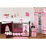 Pink and Green Jungle Safari animal themed Baby Girl Bedding 11pc Crib Set without bumper