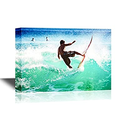 Water Entertainment Canvas Wall Art - Man Surfing The Waves - Gallery Wrap Modern Home Art | Ready to Hang - 12x18 inches
