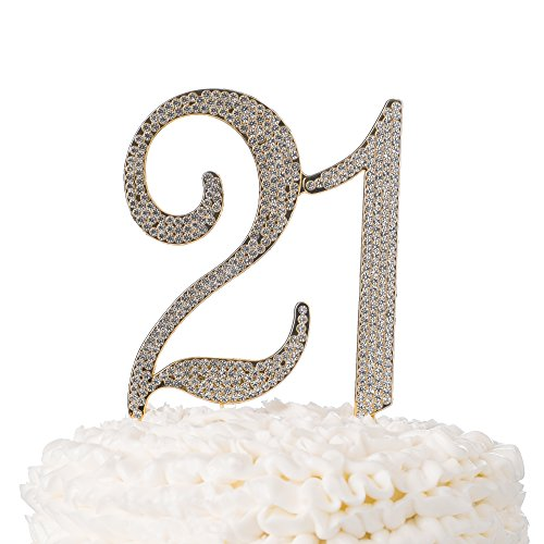 Golden Celebration Favor Cake - 21 Cake Topper for 21st Birthday Party Supplies and Decoration Ideas (Gold)