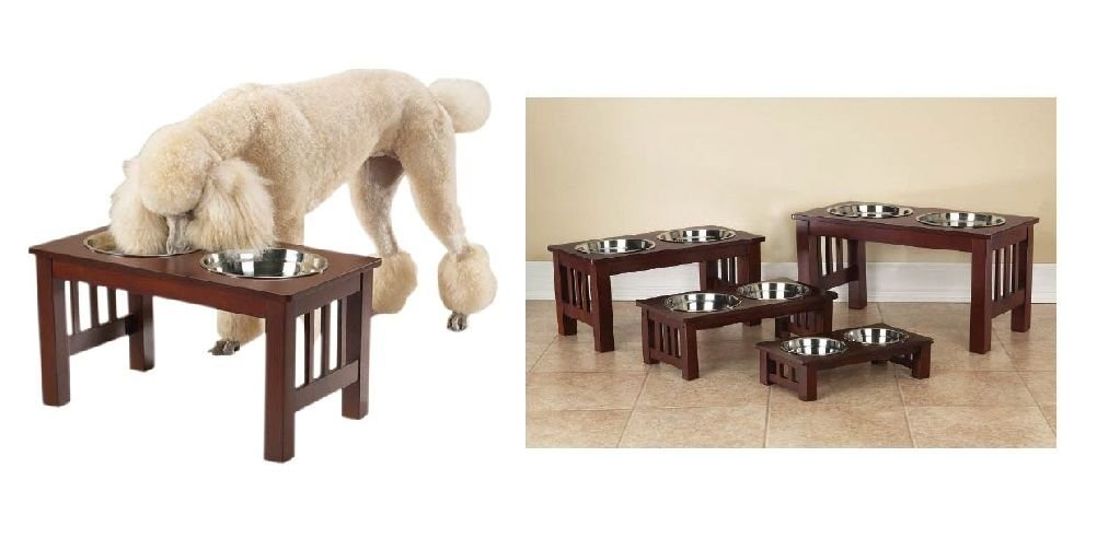 Raised Dog Diners With Dishes & Cherry Wood Finish-Deluxe Healthy
