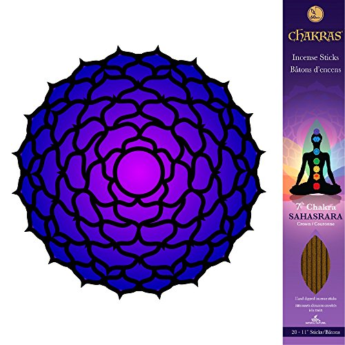 7 Chakras - 7 Sahasrara - Crown - Enlightenment - Primary Aromas are Frankincense & Myrrh & Lotus - 11 inch - 60 Minutes - 3x 20-pack - 100% Natural Hand Dipped Incense Sticks