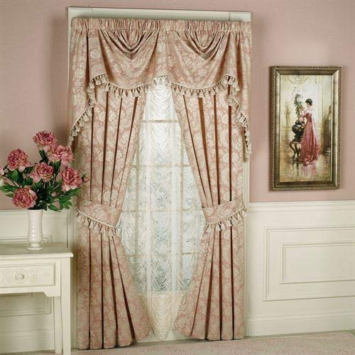 Touch of Class Chantilly Rose Curtain and Valance Window Treatment Set Rose 2 Piece ()