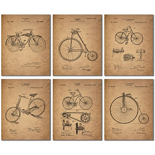 Bicycle Patent Prints - Set of Six Vintage Bike Decor Wall Art Photos -