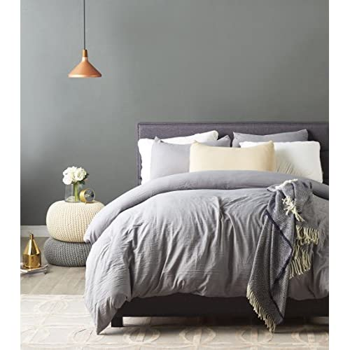 Cheap Kachabros Duvet Cover Set with Zipper Closure Ultra Soft Microfiber and Easy Care 3 Piece 1 Duvet Cover with 2 Pillow Shams Queen Grey