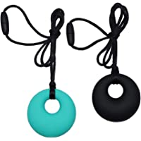 Sensory Chew Necklace for Boys Girls Adults, 2 Pack Silicone Chewy Pendant Jewelry for Autism, ADHD, Baby Nursing or…
