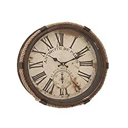 Deco 79 52557 Metal Rope Glass Wall Clock, 17