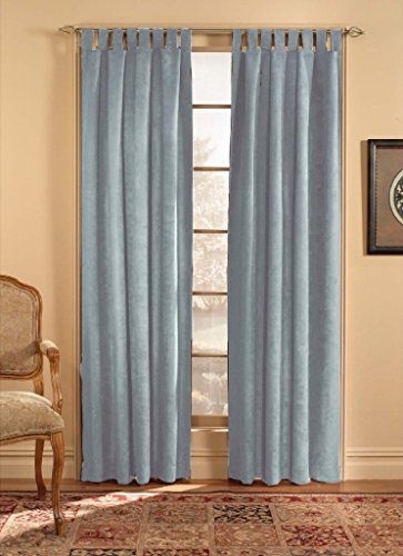 CHF & You Ultra Suede Tab Top Window Curtain Panel, Blue, 50-Inch X 108-Inch