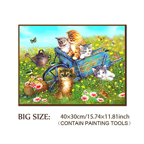 5D Diamond Painting Kit, DIY Full Round Drill Ornaments Large Cat Enjoy Spring Paintings Kits, Clearance Rhinestone Home Wall 3D Decor, Contain Accessories Tools for Adults (30x40CM / 35x45CM)