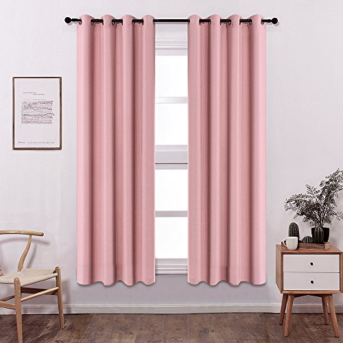 Colokey Shade Insulation Curtain Bedroom Living Room Balcony Curtain,Peach Pink,52x84-inch,1 Panel