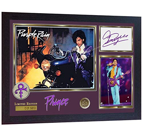 S&E DESING Prince Rogers Nelson Signed Autograph Photo Print Purple Rain Album Rock Framed