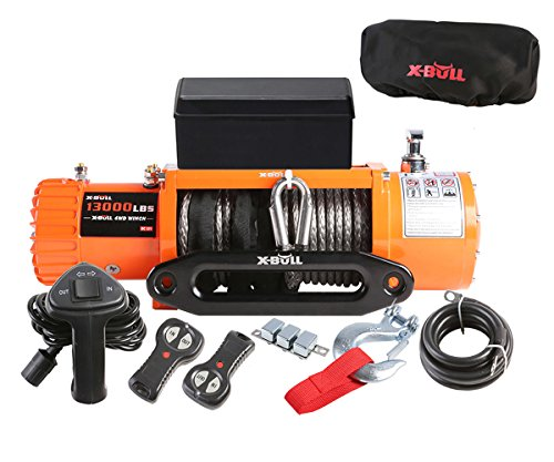 X-BULL 12V Waterproof Synthetic Rope Winch-13000 lb. Load Capacity IP67 (Blue) (Orange)