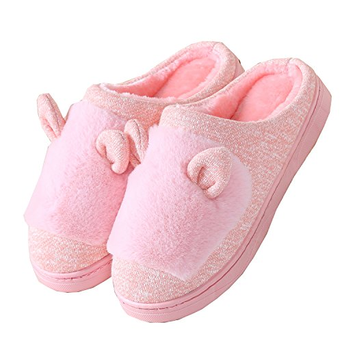 cat winter boot Pink ears warm fabric slippers home shoes Knitted cotton Unisex plush SCBn5qwxRR