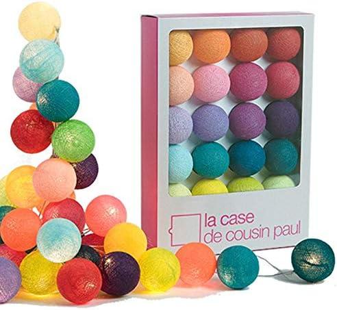 LA CASE DE COUSIN PAUL - Guirnalda de luces con 20 farolillos, bolas de algodón: Amazon.es: Hogar