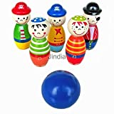 MAZIMARK-Wooden Cartoon Figure Bowling Ball Skittles Set Outdoor Party Games Toy Kids