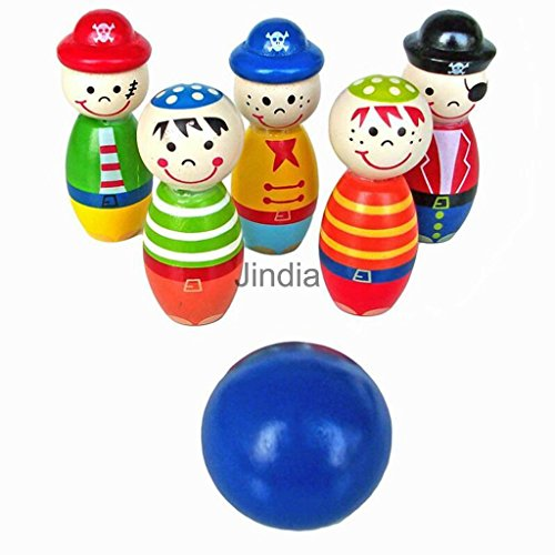 MAZIMARK-Wooden Cartoon Figure Bowling Ball Skittles Set Outdoor Party Games Toy Kids by MAZIMARK