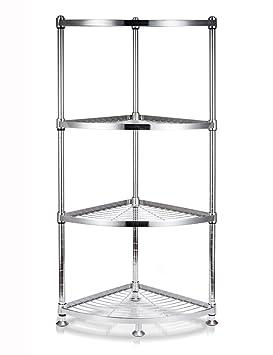 Estantes y soportes para ollas y sartenes HWF Cocina de Triángulo Estante Esquina Marco de Piso Pot Rack Suministros de Almacenamiento 304 de Acero ...