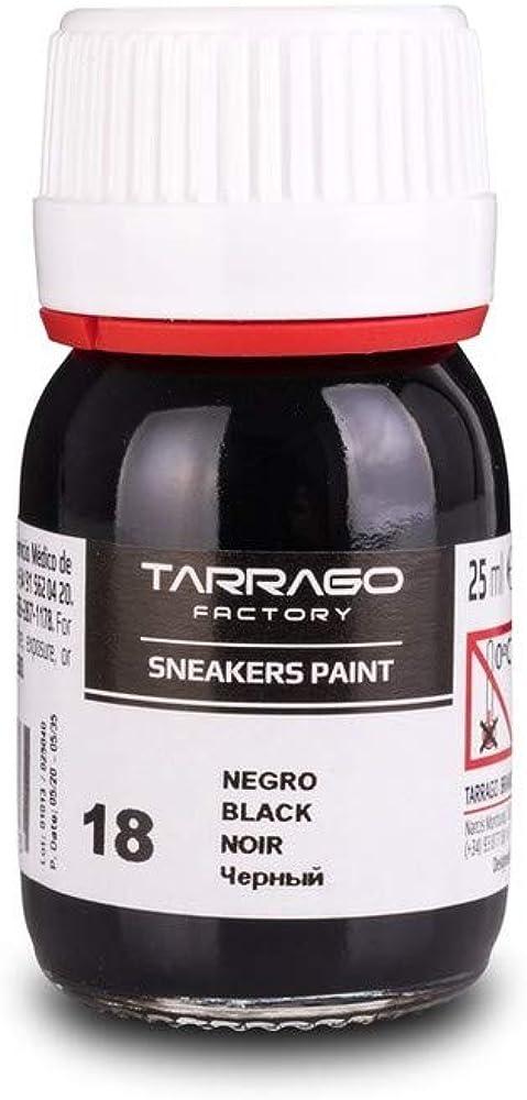 Tarrago | Sneakers Paint 25 ml | Colores Base | Pintura para Sneakers y Zapatillas de Cuero, Cuero Sintético y Lona (Negro 18)