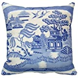 Blue Willow Pillow - The Perfect Size And Color. Personalized 18x18 Inch Square Cotton Throw Pillow Case Decor Cushion Covers