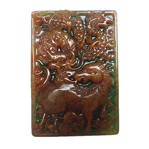 - Green Jade Pendant Mascot Dragon / Unicorn Amulet (Double-sided Engraving)