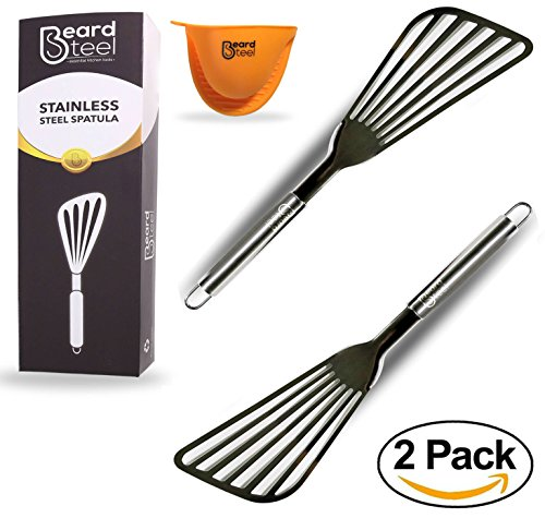 Ash & Harry Fish Spatula, Nonstick Metal Oven Utensils, Premium Stainless Steel Slotted Turner with Flexible Blade for Frying, Turning, and Grilling Set of 2, 2 per Box