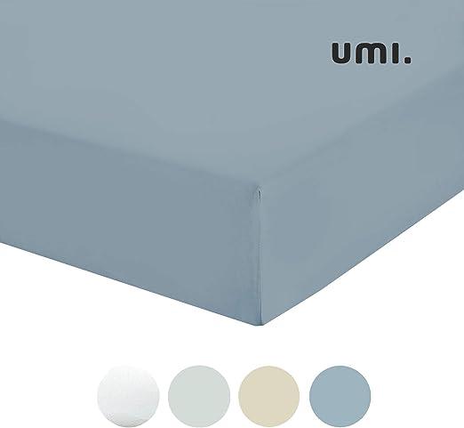 Umi. by Amazon - Sábana bajera de satén de algodón 100 %, cama ...