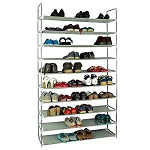 KIKIONLIFE Grey 5 8 10 Tiers Shoe Rack 25 40 50 Pairs Non-Woven Fabric Shoe Tower Storage Organizer Cabinet (10 Tiers)