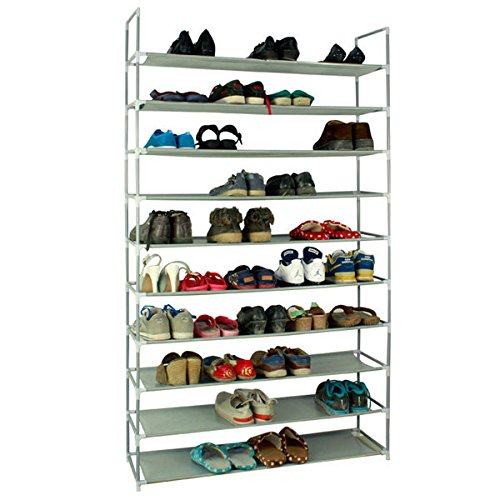 KIKIONLIFE Grey 10 Tiers Shoe Rack 50 Pairs Non-woven Fabric Shoe Tower Storage Organizer Cabinet
