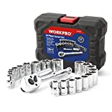 """WORKPRO 24-piece Compact Drive Sockets Set 3/8"""" Ratchet with Blow Molded Case"""