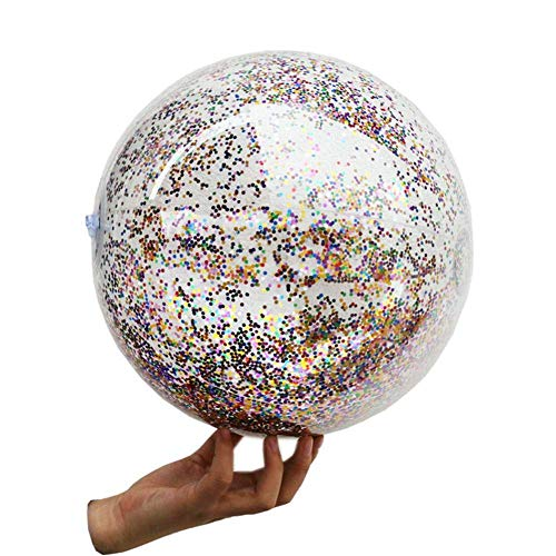 3 Pack Glitter Beach Ball - Confetti Inflatable Beach Balls Bulk, Transparent Sequin Small Beach Balls for Swimming Summer Vacation Party - 12 inch Inflated Swimming Pool Float Balls for Kids Adults