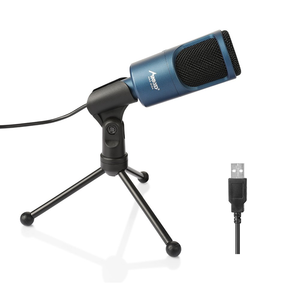 USB Microphone, MAD GIGA Condenser Microphone with Foldable Stand, Omnidirectional USB Condenser Microphone for Computer Laptop for Recording Youtube, Video Interview/Conference, Podcast