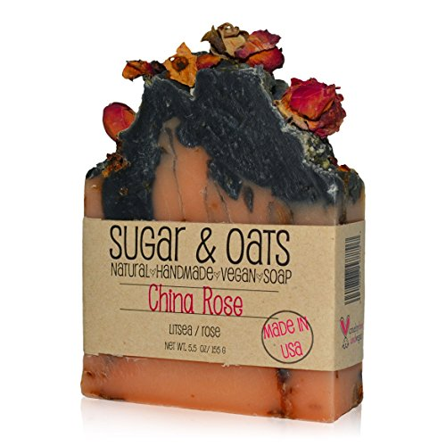 (China Rose Kombucha Tea Vegan Soap made by Sugar and Oats, Essential Oil Blend of Litsea & Rose. For Face, Body, Men, Women, Teen, Chemical Free, Cruelty Free, Natural Soap, Palm Free Soap)