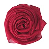 Lina & Lily Sheer Lightweight Summer Scarf for Weddings Party Evening Beach (Dark Red)