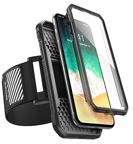 SUPCASE iPhone X Case, Can Use as Easy Fitting Sports Running Armband, Two Kinds of Usage with Built-in Screen Protector for Apple iPhone X/iPhone 10 2017 Release (Black)