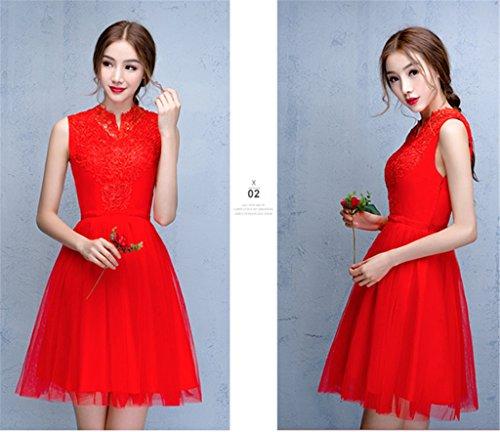 Drasawee Rot Kleid Linie A Damen IrnqIWwv6
