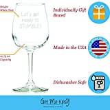 Got Me Tipsy Ready To Stumble Funny Wine Glass - Birthday Gift Idea for Her, Gifts for Women - 13-Ounce, Glass