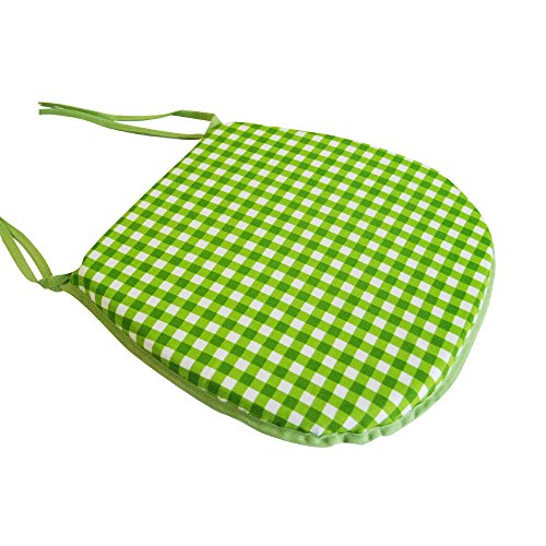 (Tony's Textiles Tie On Chunky Seat Chair Padded Cushion Pad Garden Outdoor Home Designs Gingham Check Lime Green)