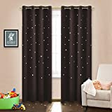Boys Curtains NICETOWN Space Inspired Night Sky Twinkle Star Boy's Room Curtain, Creative Blackout Window Curtain for Bedroom (52 by 95 inch, 1 Panel, Brown)