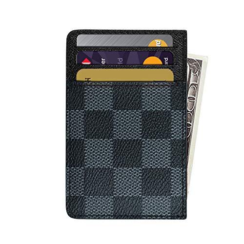Slim RFID Credit Card Holder Minimalist Front Pocket Leather Wallet - Black