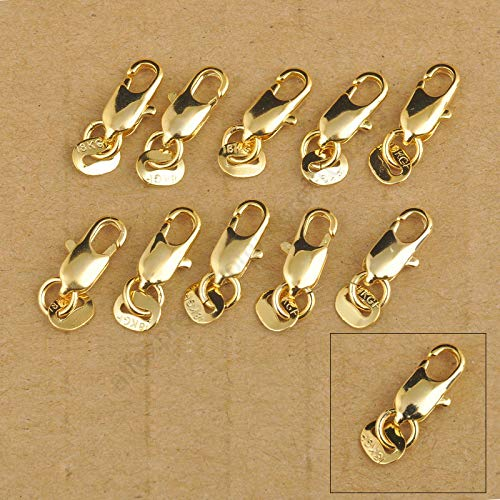 (TTO Jewelry Findings & Components - 50Pcs Jewelry Findings 18K Yellow Gold Filled Lobster Clasp Connecter Link Jewelry for Necklace Bracelet 18KGF Stamped Tag 1 PCs)