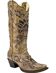CORRAL Womens Vintage Honey Studded Cowgirl Boot Snip Toe - A3213