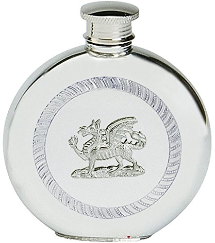 (Pewter Hip Flask Welsh Dragon Round Flask 6oz Screw Top CYMRU Y Ddraid Goch)