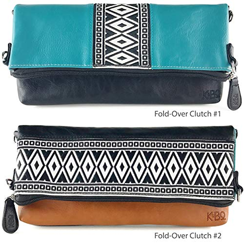 Teal Brown Style and Body Cross Women's K Embroidery Boho Black amp;Bo Clutch Bag with OFPWgw